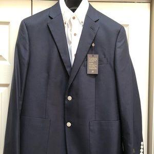NWT Mens Tasso Elba Navy Blazer Cotton/Silk 42Reg